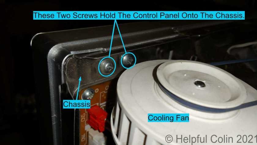 The screws holding the Control Panel to the Chassis tucked behind the Cooling Fan