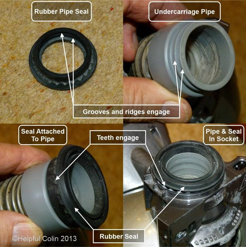 Four pictures of the Dyson Slim DC18 Rotary Brush Assembly Pipe and Seal.