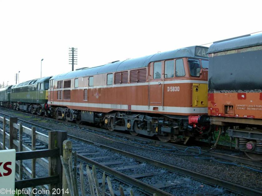 No.D5830 – Orange-brown ('golden ochre') liveried A1A-A1A Brush powered Class 31