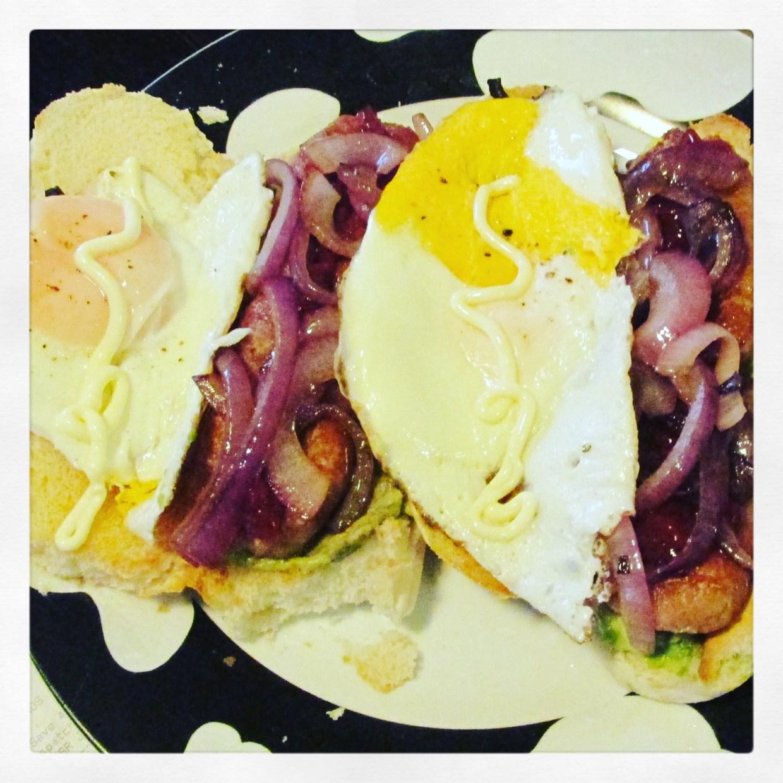 sausage, eggs and onion