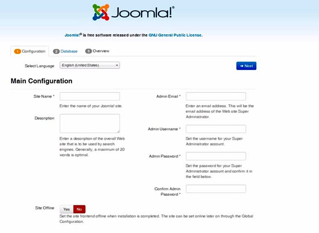 Go Through the Installation Joomla CMS