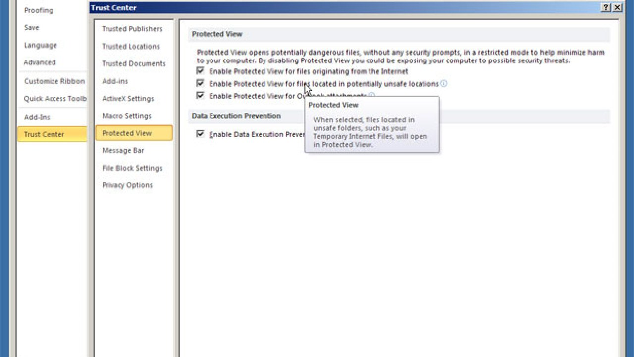 Solution to Microsoft Outlook 2007 or 2010 not opening Word or Excel