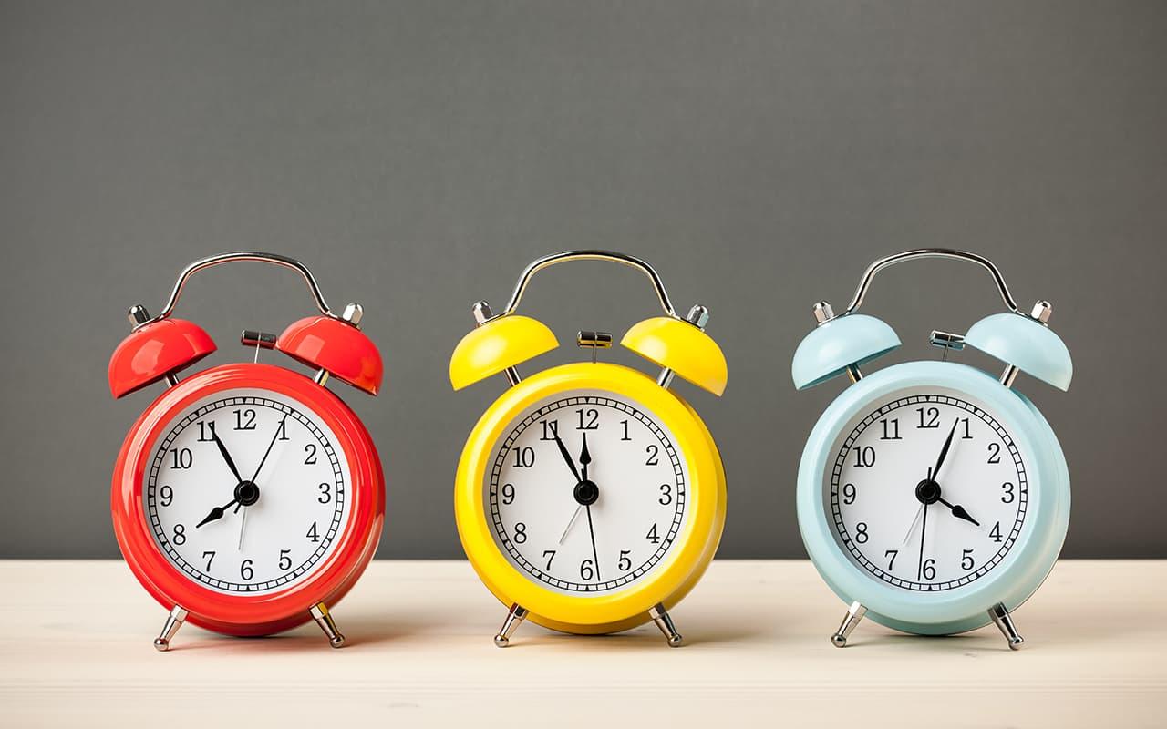 Three busy clocks