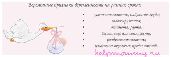 вероятные признаки беременности на ранних сроках