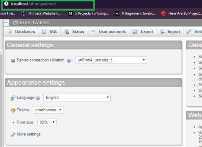 navigate to your localhost database