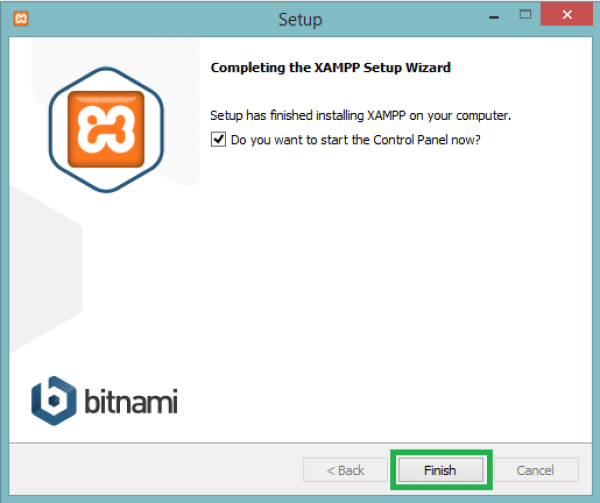 click finish to open xampp control panel