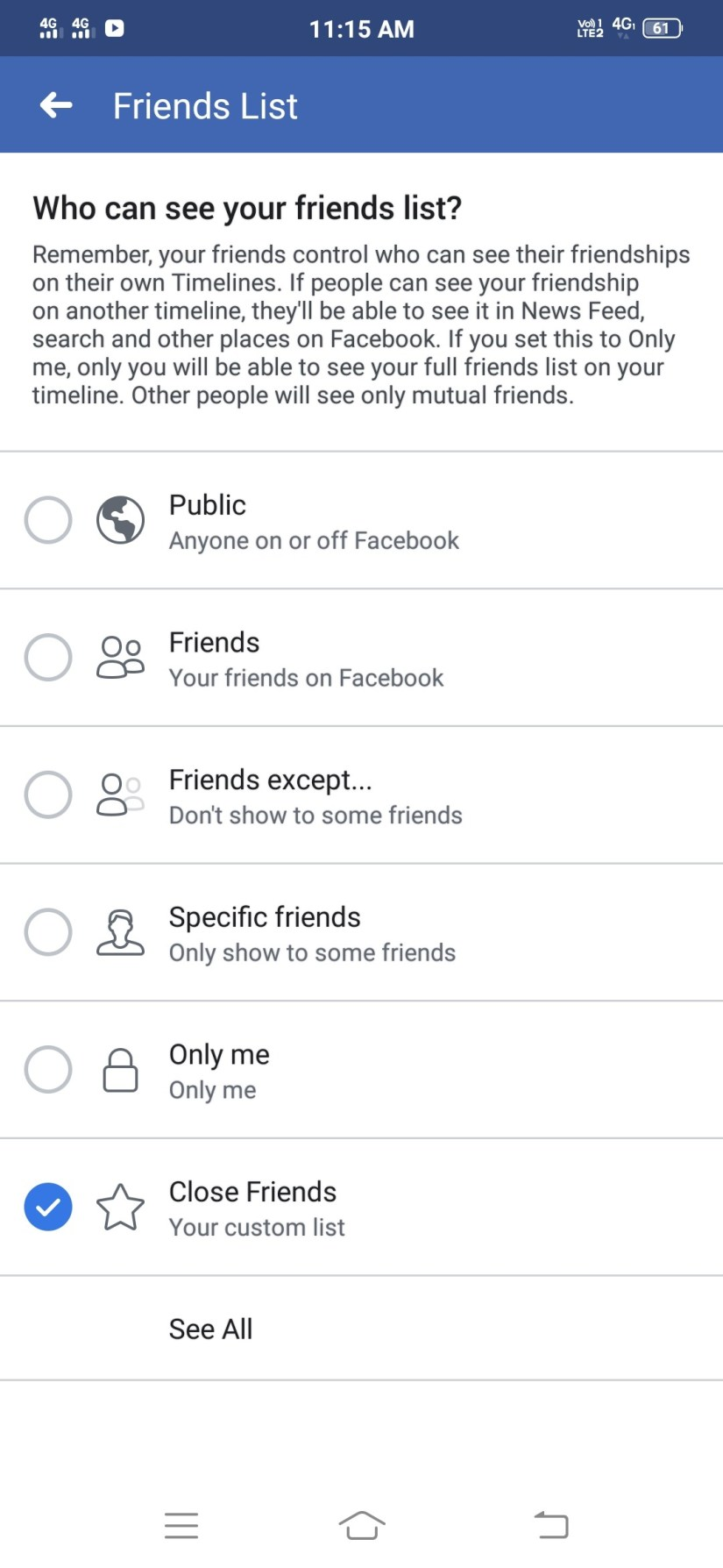 How to hide Facebook friends list in Bengali