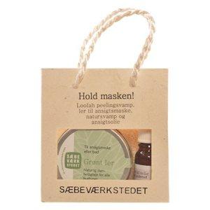 Hold masken gavepose indh. grønt ler , ansigtsolie , natursvamp peeling pad
