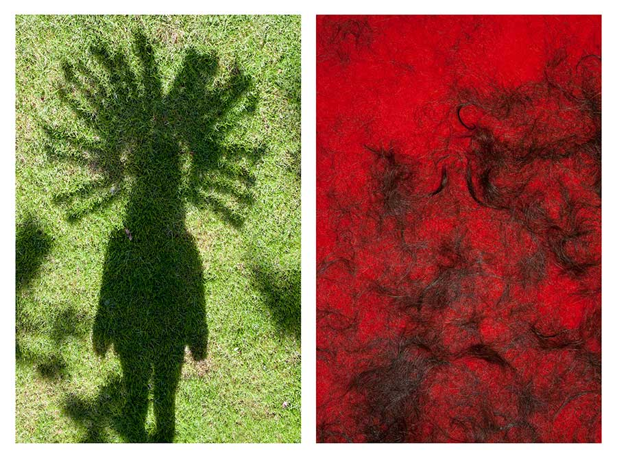 Indian shadow & Hair on red carpet from the series Bear Girls by Ute Behrend