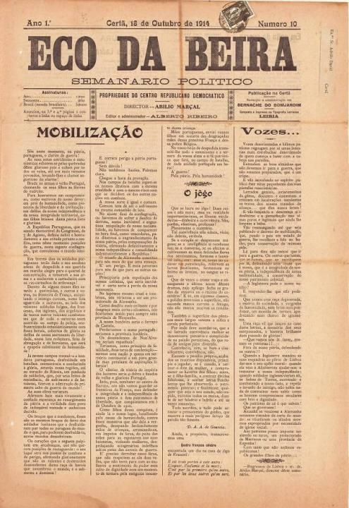 Eco Da Beira Nº10 18 10 1914 P