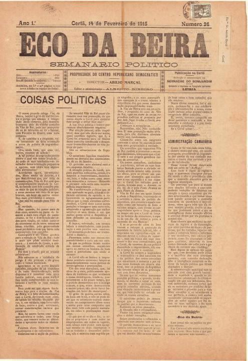 Eco Da Beira Nº26 14 02 1915 P
