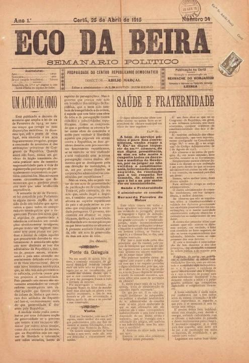 Eco Da Beira Nº34 25 04 1915 P