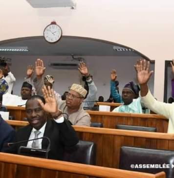 Les députés lors de l'adoption du budget de l'institution ce 8 août 2019 © parlement béninois