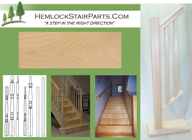 Hemlock Stair Parts And Hemlock Stair Treads   Hemlock Handrails For Stairs   Basement Stairs   Newel Caps   Wooden Stairs   Wood   Newel Posts