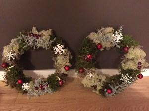 julkransar med mossa