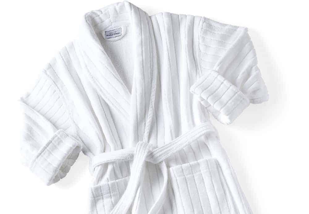 Luxury 100/% Cotton Velour Robes Shawl Collar Black//Cream Stripe
