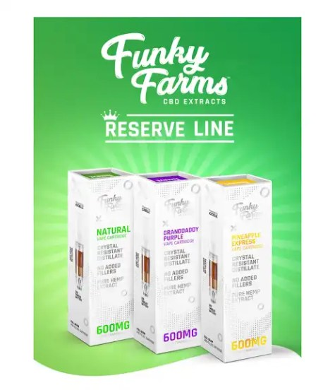 """Funky Farms CBD """"Reserve Line"""" Full Spectrum Vape Cartridges and Ready to Use Pens"""