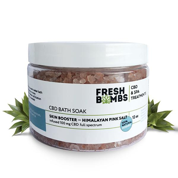 CBD bath soak tube on white background