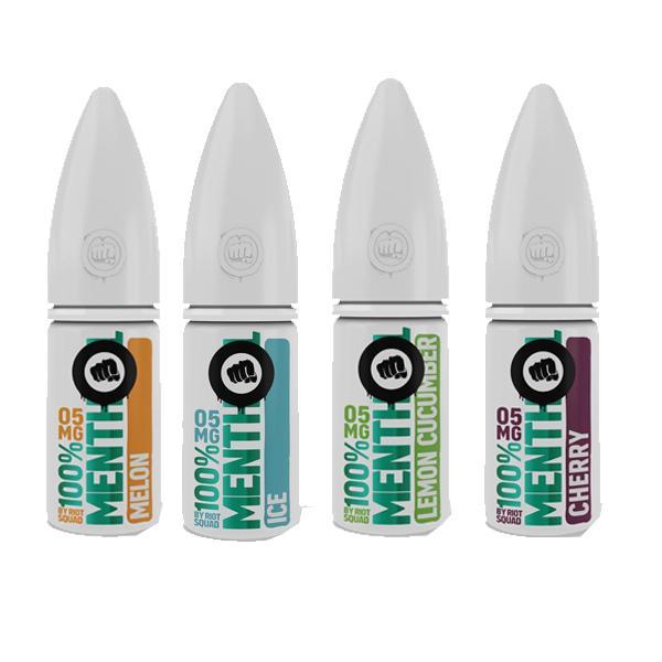 riot squad menthol nic salt range of 4 e-liquids 20mg