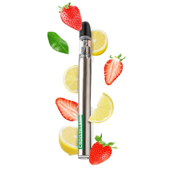 strawberry lemonade cbd vape pen on white background