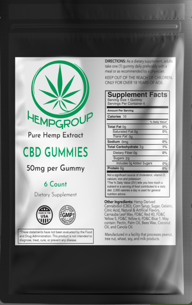 CBD Gummies 50mg  6 ct