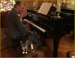 Gabriel preparing to play piano with his tail