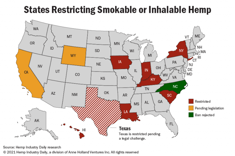 A map showing states that restrict or are considering restricting smokable hemp.