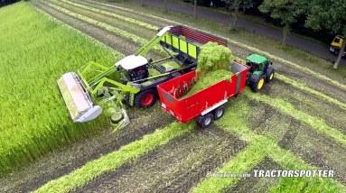 Harvesting fiber hemp | Claas Xerion 4000 | Vezelhennep oogst | DunAgro