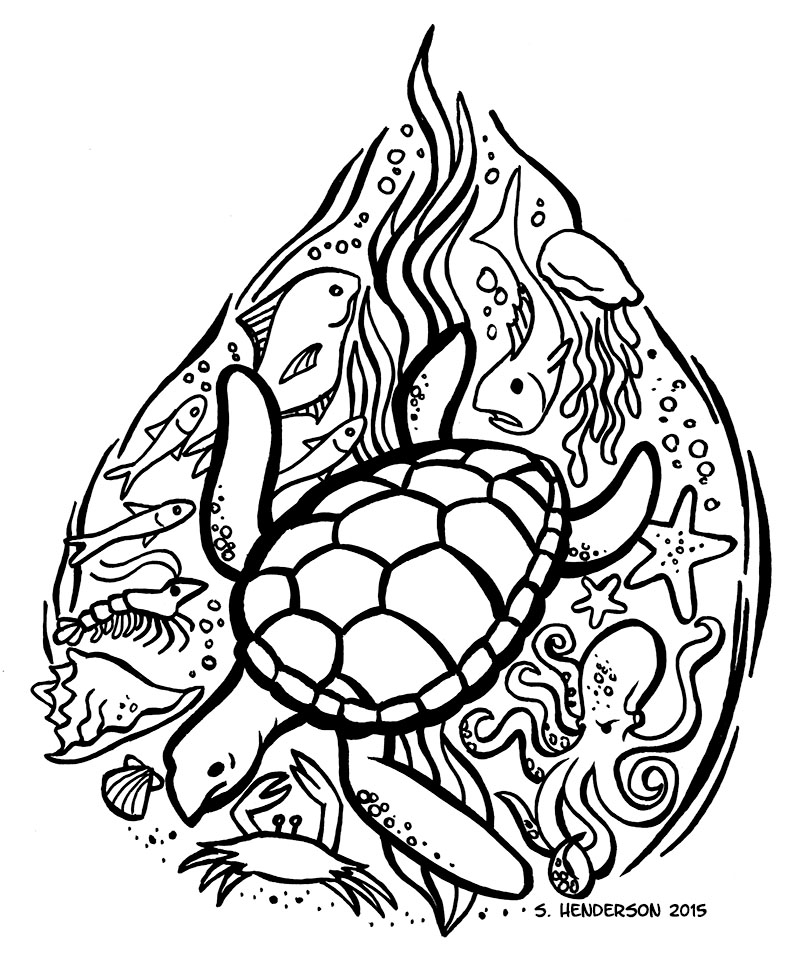 Inktober 7 – Sea Turtle 2