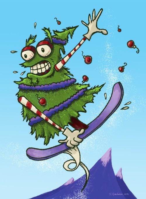 Snowboarding Christmas Tree