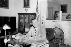 Governor Theodore McKeldin in his office. Annapolis, Maryland. Paul Henderson, 1951. MdHS, HEN.00.B1-070.