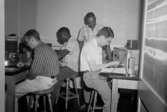 Classroom. Young men in a classroom lab setting, ca. 1947. Paul Henderson, HEN.00.B2-246.