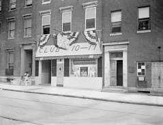 Exterior view of Club 10-17, 1017 Madison Avenue, Baltimore. Located next to Spirit Beam Church of God Methodist Church, circa 1949. Paul Henderson, HEN.00.A1-003.
