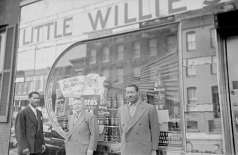 Little Willie's Cut-Rate and Bar with three unidentified men outside, circa 1949. Paul Henderson, HEN.00.A1-022.