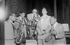 Unidentified group of musicians performing or practicing inside club. Five piece band, circa 1951. Paul Henderson, HEN.00.A2-260.