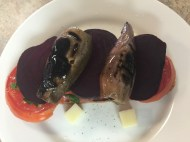 Tartine step 4: layer with roasted beets and eggplant
