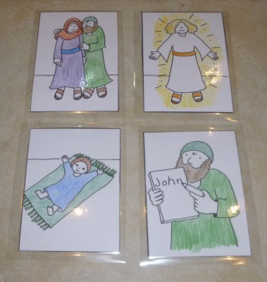 To find four pictures inside telling the story of how Zechariah and Elizabeth became parents to John the Baptist.