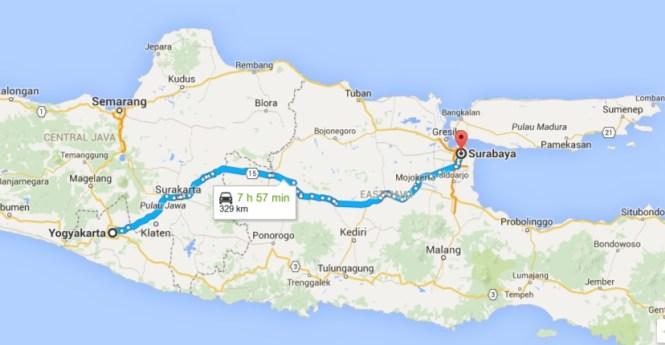 Yogyakarta to Surabaya, East Java - Google Maps