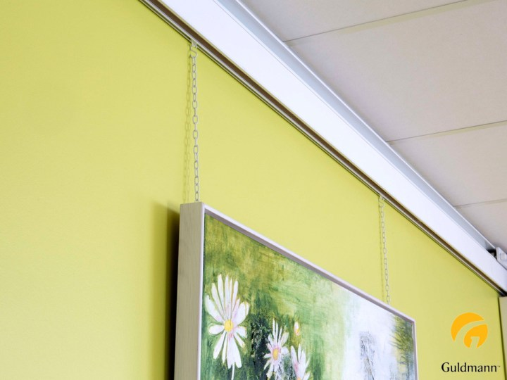 Medico device wall rail with picture hooks with project manager Henning Kristensen
