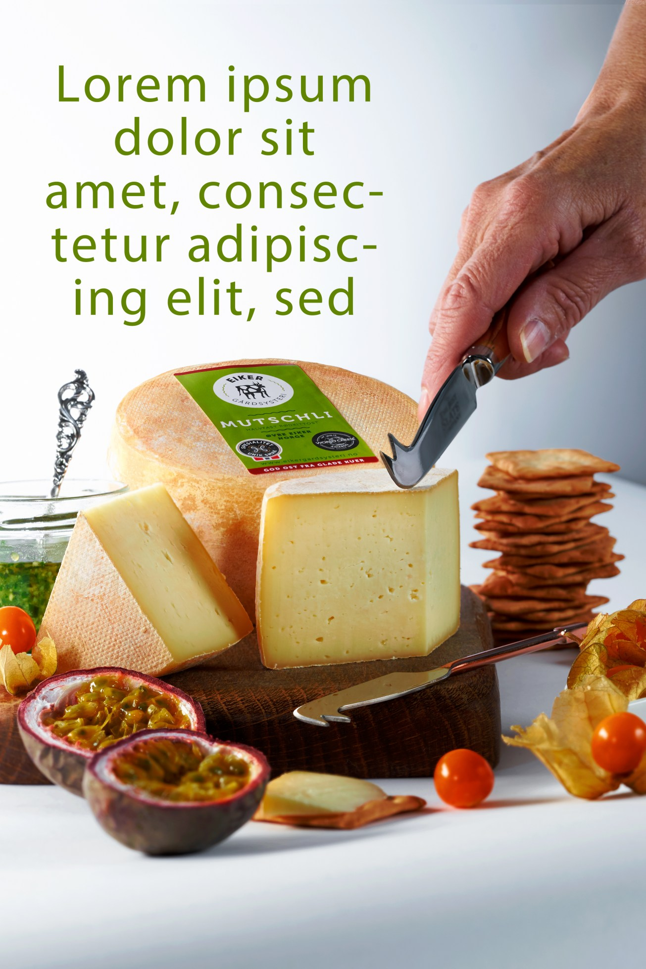 Lifestyle cheese shot for local cheese producer with example text