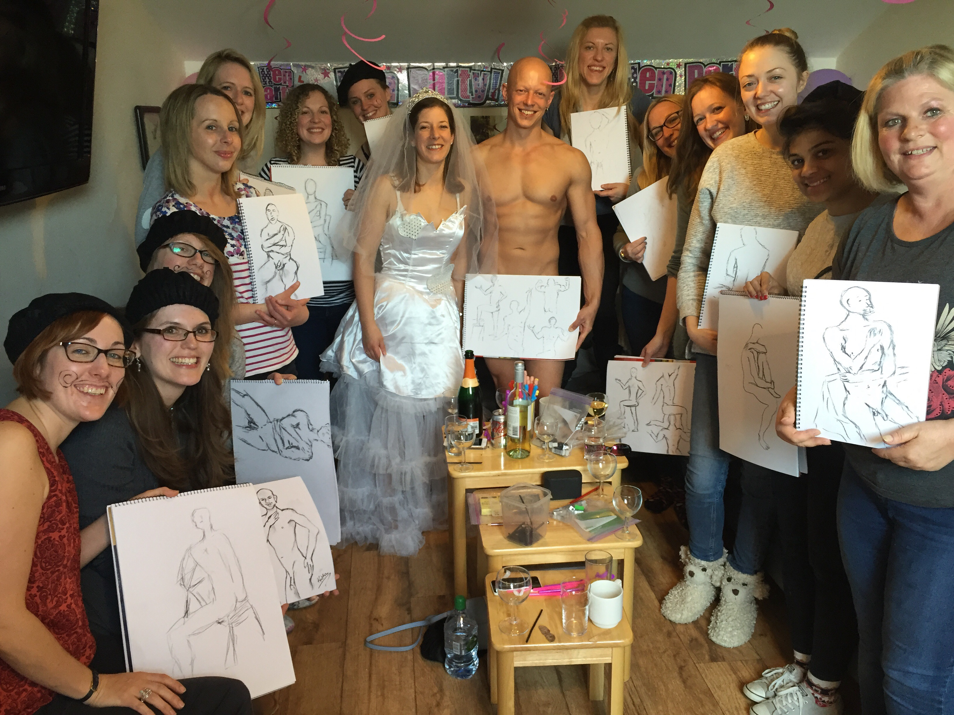 Super Hen Party Life Drawing workshop with Male Model