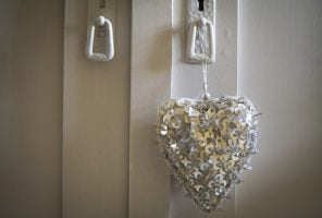 Heart hanging on a wardrobe door