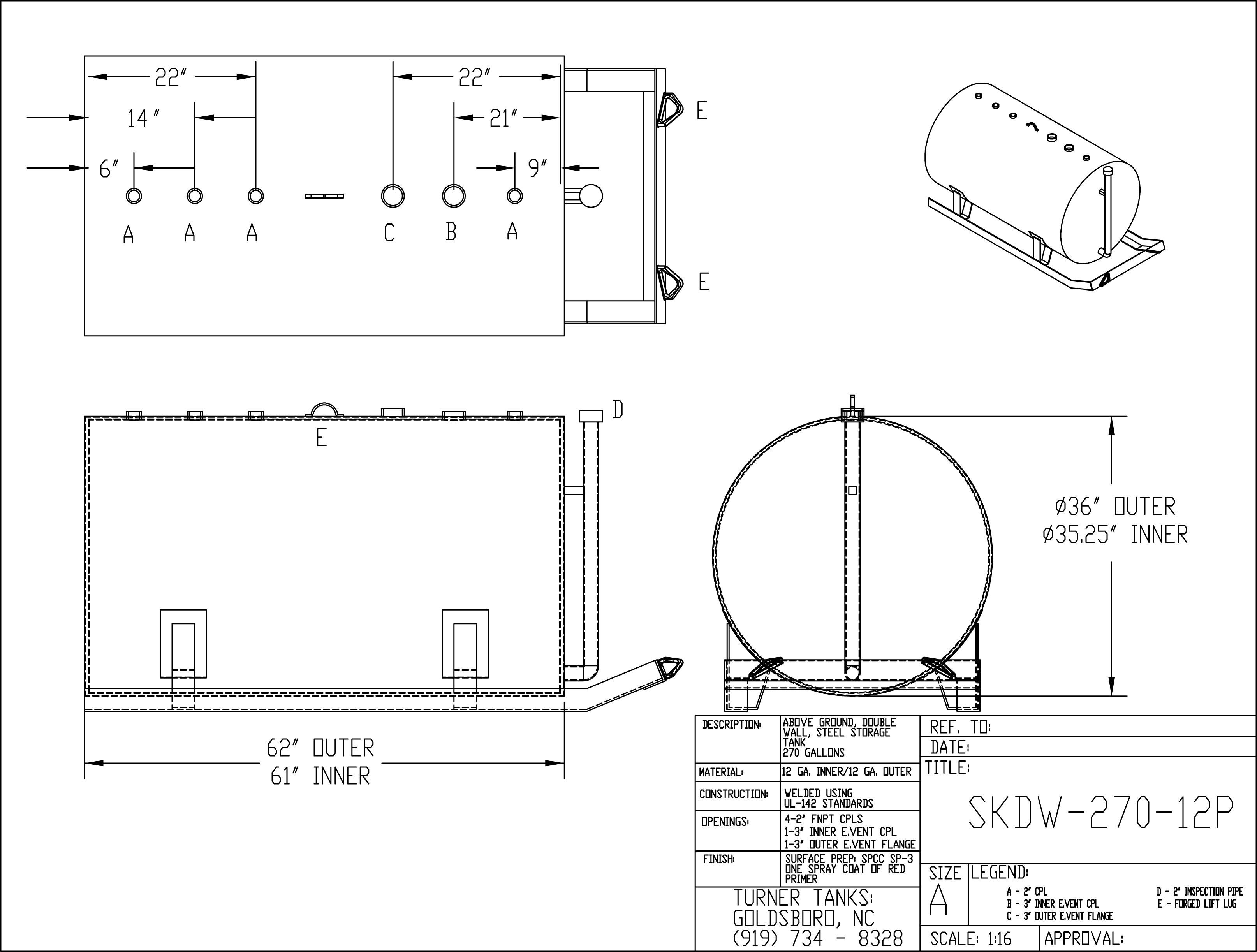 Turner Tanks Skdw 270 12p Double Wall Skid Tank 273