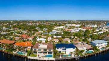 Panoramic Aerial View Of Waterfront Homes