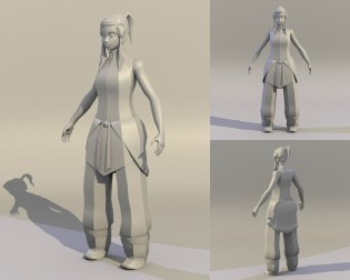 Legend of Korra – Game Character – Wip – Stage 1 – Model – No Amature – No Texture – 2015