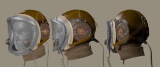 """3D study of a helmet from the anime """"The Last Exile"""" designed by Renji """"Range"""" Murata. – 2013"""