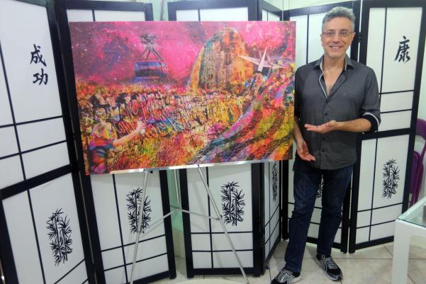 """Tela """"Rio Wall"""" - Artista: Henrique Vieira Filho Técnica Mista 120 cm x 80 cm"""