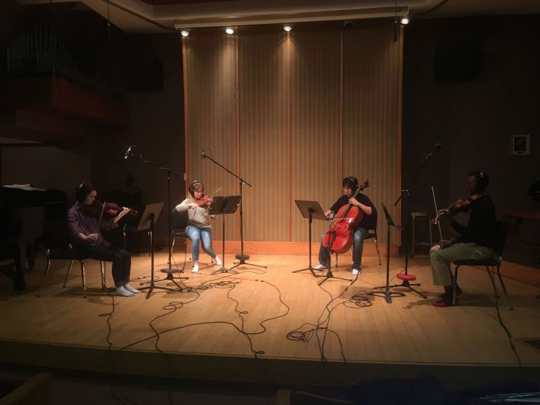 String Quartet Recording Classical Music On Location