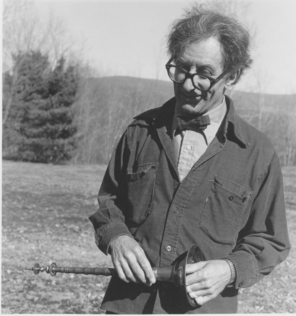 Henry Brant with Chinese oboe, ca. 1974