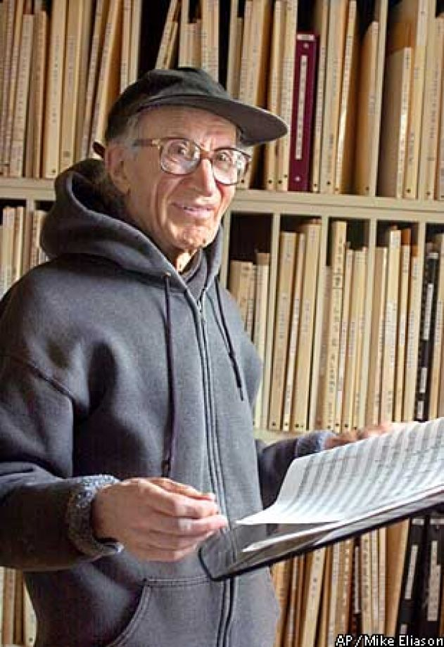 Henry Brant after receiving the Pulitzer Prize for Ice Field in 2002.
